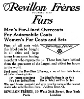 0323694 © Granger - Historical Picture ArchiveAD: FUR COAT, 1911.   American magazine advertisement for Revillon Freres fur coats, 1911.