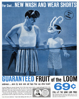 0410086 © Granger - Historical Picture ArchiveAD: FRUIT OF THE LOOM, 1959.   American advertisement for Fruit of the Loom Wash and Wear Shorts, 1959.