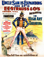 0621460 © Granger - Historical Picture ArchiveAD: TAILORING, c1898.   'Uncle Sam is expanding and so is E.E. Strauss & Co.'s business in high art tailoring.' Advertising poster with Uncle Sam with one foot in the Philippines and the other on Puerto Rico. Lithograph, c1898.