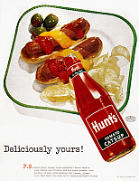 0032823 © Granger - Historical Picture ArchiveKETCHUP AD, 1955.   'Deliciously Yours! P.S. Don't Those Franks Look Wonderful?' Advertisement for Hunt's Tomato Catsup, from an American magazine of 1955.