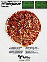 0087699 © Granger - Historical Picture ArchivePIZZA HUT AD, 1970.   Advertisement from an American magazine, 1970.