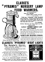 0266896 © Granger - Historical Picture ArchiveAD: FOOD WARMER, c1896.   English advertisement for Clarke's 'Pyramid' Nursery Lamp Food Warmers, which keep food warm and provide light, c1896.