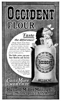 0409673 © Granger - Historical Picture ArchiveAD: OCCIDENT FLOUR, 1911.   American advertisement for Occident Flour, produced by the Russell-Miller Milling Company, 1911.