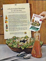 0410008 © Granger - Historical Picture ArchiveAD: SALAD DRESSING, 1961.   American advertisement for Good Seasons Italian salad dressing, 1961.