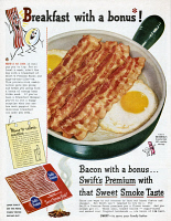 0410051 © Granger - Historical Picture ArchiveAD: BACON, 1954.   American advertisement for Swift's Premium Bacon, 1954.