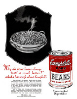 0410109 © Granger - Historical Picture ArchiveAD: CAMPBELL'S, 1927.   American advertisement for Campbell's Pork and Beans with Tomato Sauce