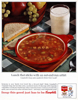 0433335 © Granger - Historical Picture ArchiveAD: CAMPBELL'S SOUP, 1964.   American advertisement for Campbell's Soup. Photograph, 1964.