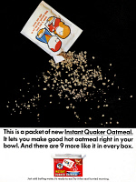 0433368 © Granger - Historical Picture ArchiveAD: QUAKER OATMEAL, 1966.   American advertisement for Instant Quaker Oatmeal. Photograph, 1966.