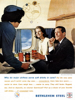 0433447 © Granger - Historical Picture ArchiveAD: CANNED SOFT DRINKS.   American advertisement for canned soft drinks, sponsored by Bethlehem Steel. Photograph, 1963.