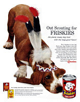 0433627 © Granger - Historical Picture ArchiveAD: FRISKIES, 1962.   American advertisement for Friskies dog food. Photograph, 1962.