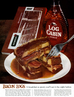 0433712 © Granger - Historical Picture ArchiveAD: BACON AND MAPLE SYRUP.   American advertisement for Armour bacon and Log Cabin syrup. Photograph, 1962.