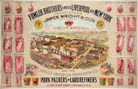 0527447 © Granger - Historical Picture ArchiveAD: PORK, c1870.   Advertisement for Fowler Brothers pork packers and lard refiners. Lithograph, c1870.