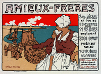 0527816 © Granger - Historical Picture ArchivePOSTER: SARDINES, 1899.   Advertisement for Amieux-Freres tinned sardines. Lithograph by Fay Georges, 1899.