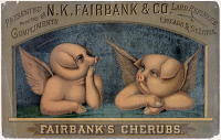 0560406 © Granger - Historical Picture ArchiveAD: LARD, c1890.   Advertisement for N.K. Fairbanks & Co. Lard Refiners, showing two piglets as Raphael's cherubs. Lithograph, c1890.