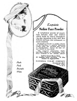 0409862 © Granger - Historical Picture ArchiveAD: NADINE FACE POWDER.   American advertisement for Nadine Face Powder, a product of the National Toilet Company, 1919.