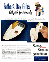 0409916 © Granger - Historical Picture ArchiveAD: ELECTRIC RAZOR, 1947.   American advertisement for the Schick Electric Shaver and Shaverest, 1947.
