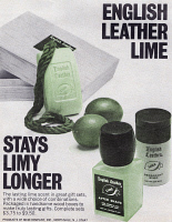 0419898 © Granger - Historical Picture ArchiveAD: ENGLISH LEATHER, 1968.   American advertisement for English Leather Lime. Photograph, 1968.