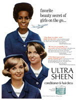 0433293 © Granger - Historical Picture ArchiveAD: ULTRA SHEEN, 1966.   American advertisement for Ultra Sheen Conditioner and Hair Dress. Photograph, 1966.