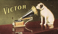 0033220 © Granger - Historical Picture ArchiveRCA VICTOR TRADEMARK.   'His Master's Voice.' American merchant's trade card, c1906, for Victor Talking Machine Company, featuring Nipper the dog.