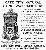 0090686 © Granger - Historical Picture ArchiveWATER FILTER AD, 1889.   American magazine advertisement for a Gate City stone water filter, 1889.