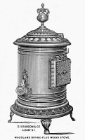0371244 © Granger - Historical Picture ArchiveAD: WOODLAND STOVE, 1875.   American advertisement for a Woodland diving-flue wood stove, c1875.