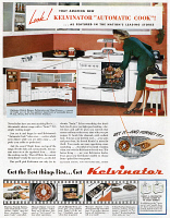 0409865 © Granger - Historical Picture ArchiveAD: KITCHEN APPLIANCES.   American advertisement for Kelvinator kitchen appliances, 1947.