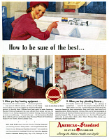 0409870 © Granger - Historical Picture ArchiveAD: AMERICAN-STANDARD.   American advertisement for American-Standard Heating and Plumbing, 1947.
