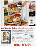 0410161 © Granger - Historical Picture ArchiveAD: GENERAL ELECTRIC, 1954.   American advertisement for the General Electric Refrigerator-Freezer Combination, 1954.