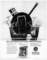 0419901 © Granger - Historical Picture ArchiveAD: DISHWASHER, 1968.   American advertisement for General Electric dishwashers. Photograph, 1968.