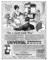 0432391 © Granger - Historical Picture ArchiveAD: STOVE, 1918.   American advertisement for the Universal Combination Range, which allows the user to cook with gas, coal or wood. Illustration, 1918.