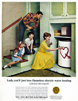 0433377 © Granger - Historical Picture ArchiveAD: WATER HEATER, 1966.   American advertisement for flameless electric water heaters, sponsored by Edison Electric. Photograph, 1966.