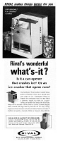 0433416 © Granger - Historical Picture ArchiveAD: RIVAL, 1968.   American advertisement for Rival ice crusher and can opener. Photograph, 1968.