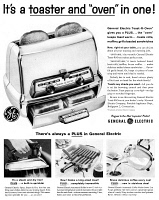 0433870 © Granger - Historical Picture ArchiveAD: TOASTER OVEN, 1959.   American advertisement for a General Electric toaster oven. Photograph, 1959.