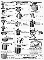 0093188 © Granger - Historical Picture ArchiveCOFFEE POTS AND COOKWARE.   Page from a Montgomery Ward catalogue of 1895.