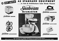 0133406 © Granger - Historical Picture ArchiveSUNBEAM ADVERTISEMENT, 1949.   American advertisement for Sunbeam Appliances, featuring the Mixmaster, 1949.