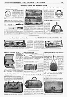 0266613 © Granger - Historical Picture ArchiveAD: LEATHER AND HOUSEWARES.   American magazine advertisements for silverware, leather and household goods, 1890.