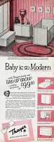 0410037 © Granger - Historical Picture ArchiveAD: BABY FURNITURE, 1954.   American advertisement for Thayer baby furniture, 1954.