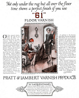 0410122 © Granger - Historical Picture ArchiveAD: FLOOR VARNISH, 1927.   American advertisement for Pratt & Lambert Varnish Products, 1927.