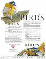 0410138 © Granger - Historical Picture ArchiveAD: BIRD & SON, 1927.   American advertisement for Bird & Son's Rugs and Roofs, 1927.
