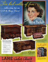 0429934 © Granger - Historical Picture ArchiveAD: CEDAR CHESTS, 1936.   American advertisement for Lane Cedar Chests. Illustration, 1936.