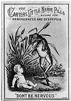 0183600 © Granger - Historical Picture ArchiveTRADE CARD: NERVE PILLS.   American merchant's trade card for Carter's Little Nerve Pills to cure nervousness and dyspepsia, 19th century.