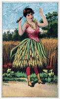 0527565 © Granger - Historical Picture ArchiveTRADE CARD, c1887.   'A Wheat Girl.' Trade card published by J.H. Bufford, c1887.