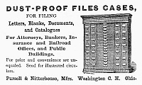0097733 © Granger - Historical Picture ArchiveFILING CASE AD, 1887.   American magazine advertisement, 1887, for filing cases manufactured by Pursell & Nitterhouse of Washington Court House, Ohio.