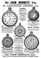 0266897 © Granger - Historical Picture ArchiveAD: POCKET WATCHES, c1896.   English advertisement for Sir John Bennett's pocket watches, c1896.