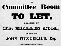 0322140 © Granger - Historical Picture ArchiveAD: COMMITTEE ROOM, c1832.   American advertisement using five different typefaces, for a committee room to let, c1832.