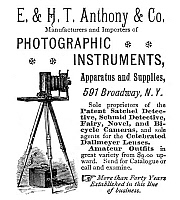 0323686 © Granger - Historical Picture ArchiveAD: PHOTOGRAPHY, 1889.   American magazine advertisement for E. & H.T. Anthony photography equipment, 1889.