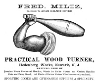 0371017 © Granger - Historical Picture ArchiveAD: WOOD TURNER, 1893.   American advertisement for Fred Miltz, a wood turner for Hedenberg Works in Newark, New Jersey, 1893.