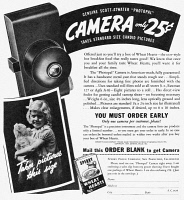 0371261 © Granger - Historical Picture ArchiveAD: CAMERA, 1937.   American magazine advertisement for the Scott-Atwater 'Photopal' camera, 1937.