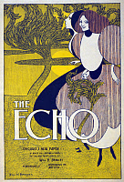 0409799 © Granger - Historical Picture ArchiveADVERTISEMENT: THE ECHO.   American advertisement for Chicago paper 'The Echo.' Lithograph by Will Bradley, 1895.
