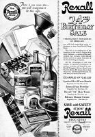 0410118 © Granger - Historical Picture ArchiveAD: DRUG STORE, 1927.   American advertisement for a sale at Rexall Drug Stores, 1927.
